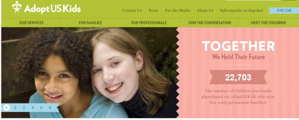 Homepage of Adopt US Kids, a website that features children waiting for adoption